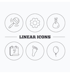 Rattle toy footprint and air balloon icons vector