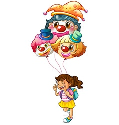 A happy girl holding clown balloons vector image vector image