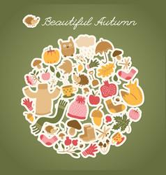 Autumn hedgehog round composition vector