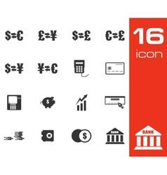 Black bank icons set vector