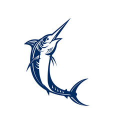Blue marlin jumping retro vector