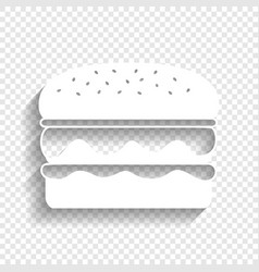 Burger simple sign white icon with soft vector