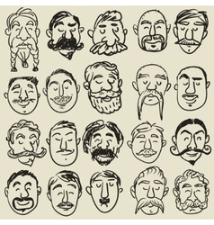 Collection of male faces with mustache vector