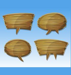 comic wood speech bubbles set vector image vector image