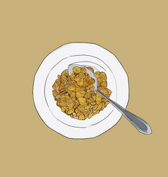 corn flakes cereal sketch vector image