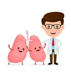 Cute funny smiling doctor and healthy happy lungs vector