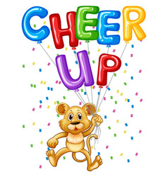 Cute lion cub with balloons and word cheer up vector