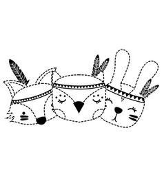 Dotted shape cute animals head friends with vector