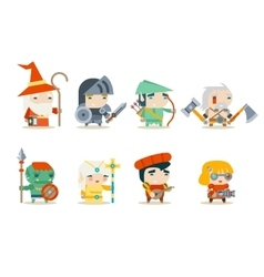 Fantasy rpg game character icons set vector