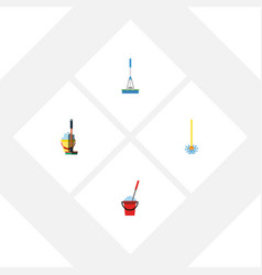 Flat icon cleaner set of cleaning broomstick mop vector