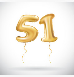 Golden number 51 fifty one metallic balloon party vector