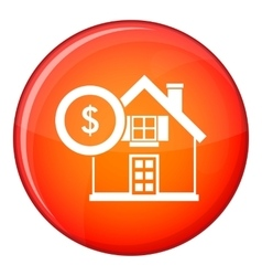 House and dollar sign icon flat style vector