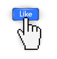 Like button and hand cursor vector image