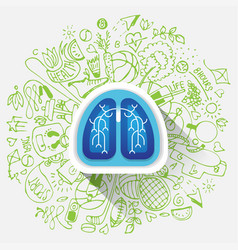 lungs - halth care sketch with sport vector image