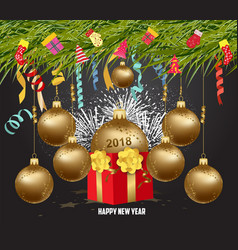 merry christmas and happy new year 2018with gift vector image vector image