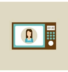 microwave appliance kitchen icon woman design vector image
