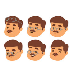 Mustache man head character hair hipster vector