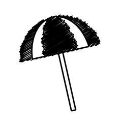 Outline umbrella sun protection beach vector