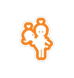 Paper sticker on white background man carries vector