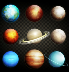 planets of the solar system isolated vector image
