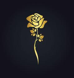 rose flower plant gold logo vector image