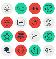 Set of 16 eco-friendly icons includes world vector