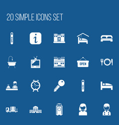 set of 20 editable motel icons includes symbols vector image vector image