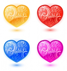 set of floral hearts vector image vector image