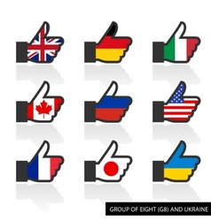 Set of G8 flags with shadow like vector image