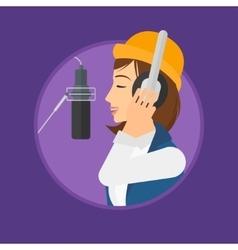 Singer recording song vector
