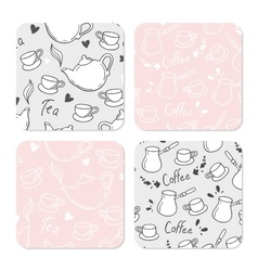 Square table coasters set with doodle tea and vector image