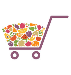 stylized image of a shopping cart of vegetables vector image vector image
