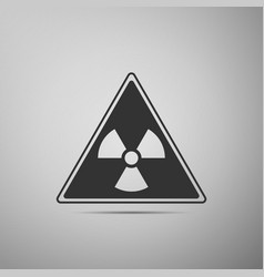 Triangle sign with a radiation symbol flat icon on vector