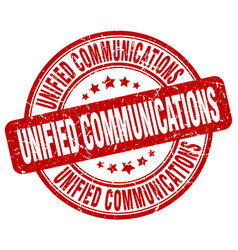 Unified communications red grunge stamp vector