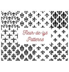 Victorian fleur-de-lis seamless patterns set vector