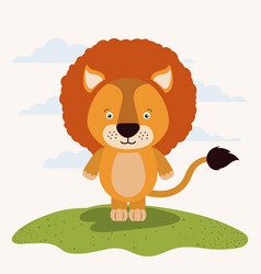 White background with color scene cute lion animal vector