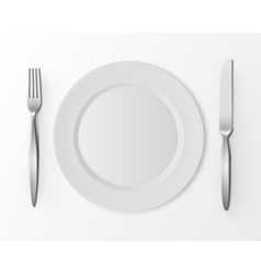 White round plate with fork and knife isolated vector