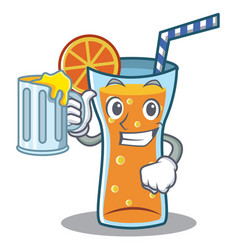 with juice cocktail character cartoon style vector image