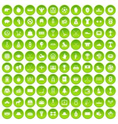 100 hockey icons set green circle vector