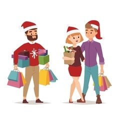 Christmas shopping people vector