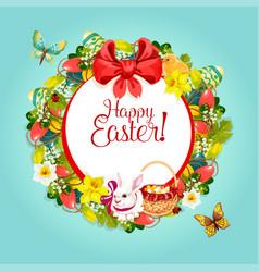 easter floral wreath frame for festive card design vector image