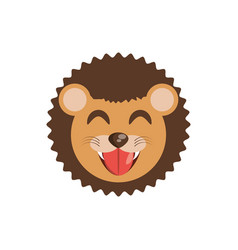 Cute face lion animal cheerful vector