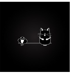 Cat and bird on the black background vector