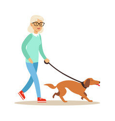 Senior woman walking with dog healthy active vector