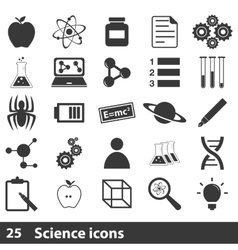 25 science simple icons set vector image