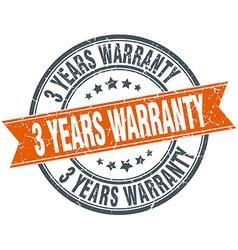 3 years warranty round orange grungy vintage vector