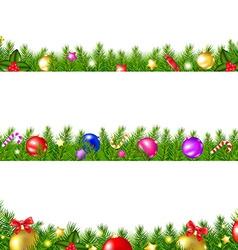 Christmas fir tree borders vector