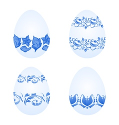 Easter eggs with russian national ornament in vector