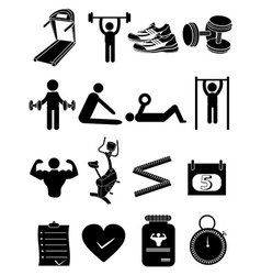 Fitness healthcare icons set vector