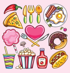 Cartoon of foods vector